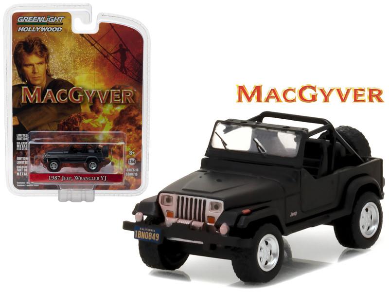 1987 Jeep Wrangler YJ Black MacGyver TV Series 1985-1992 1/64 Diecast Model Car Greenlight 44760 C