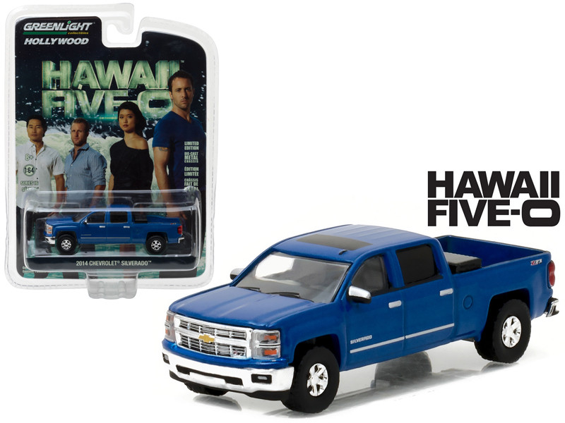 2014 Chevrolet Silverado Pickup Truck Blue Hawaii Five-0 TV Series 2010-Current 1/64 Diecast Model Car Greenlight 44760 E