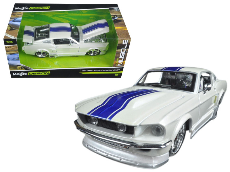 1967 Ford Mustang GT White with Blue Stripes Classic Muscle 1/24 Diecast Model Car Maisto 31094