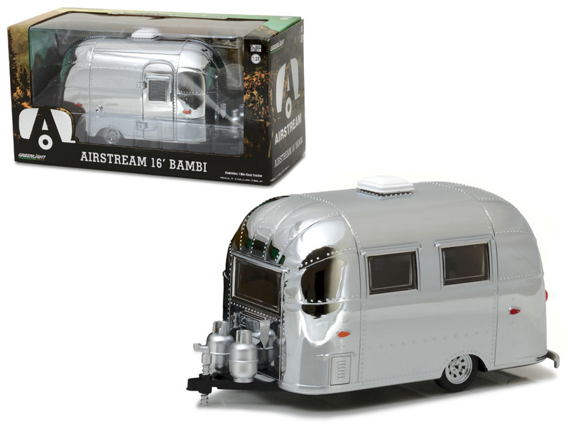 Airstream Bambi 16' Camper Trailer Chrome for 1/24 Scale Model Cars and Trucks 1/24 Diecast Model Greenlight 18236