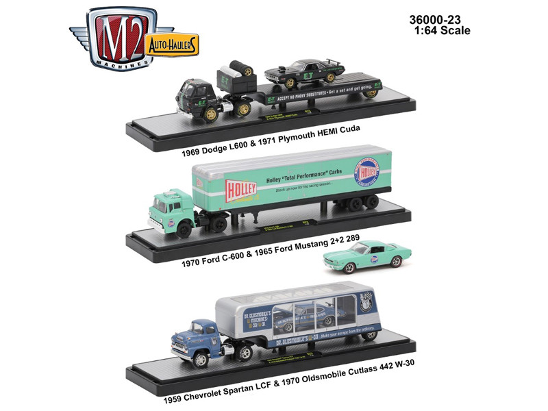 Auto Haulers Release 23 3 Trucks Set 1/64 Diecast Models M2 Machines 36000-23