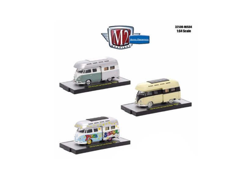 Auto Thentics 3 Cars Set Volkswagen Double Cab Cab Campers WITH CASES 1/64 Diecast Model Cars M2 Machines 32500-MJS04