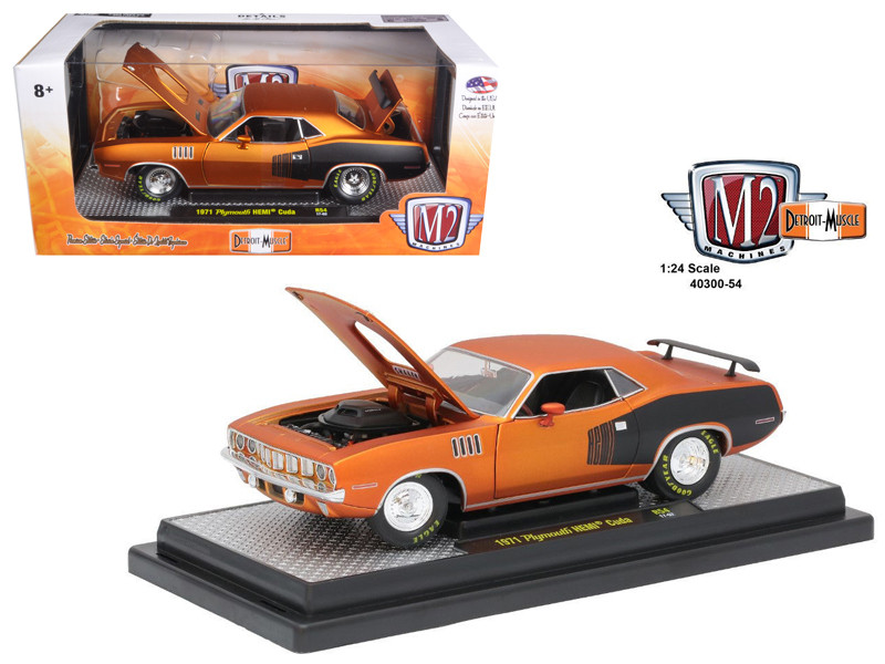 1971 Plymouth Hemi Cuda Satin Orange with oversized drag racing slicks 1/24 Diecast Model Car M2 Machines 40300-54 B
