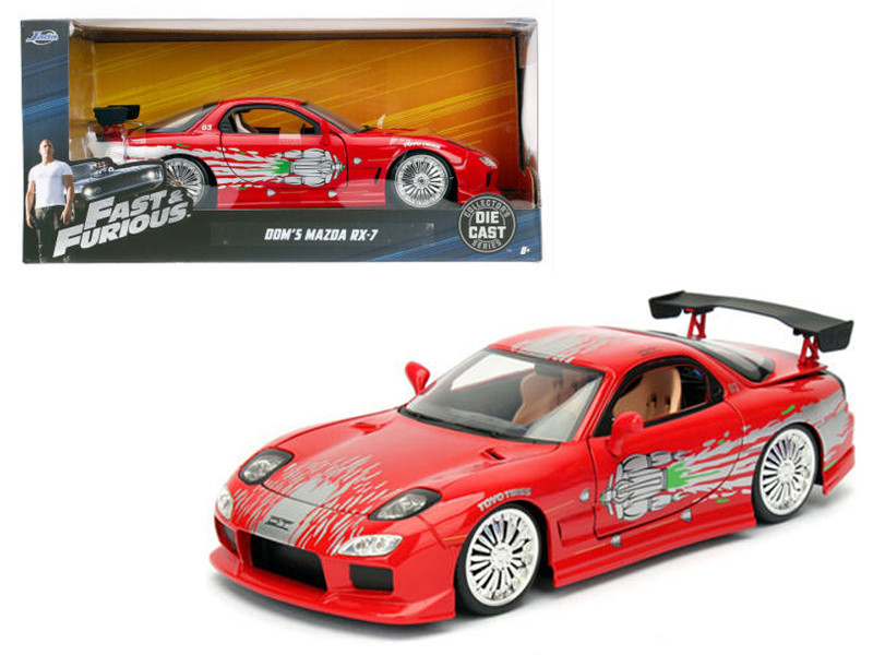 "Dom\'s Mazda RX-7 Red \Fast and Furious"" Movie 1/24 Diecast Model Car by Jada"""""""