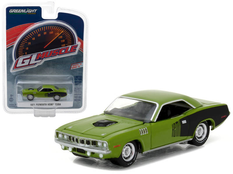 1971 Plymouth HEMI Cuda Sassy Grass Green 1/64 Diecast Model Car Greenlight 13180 B