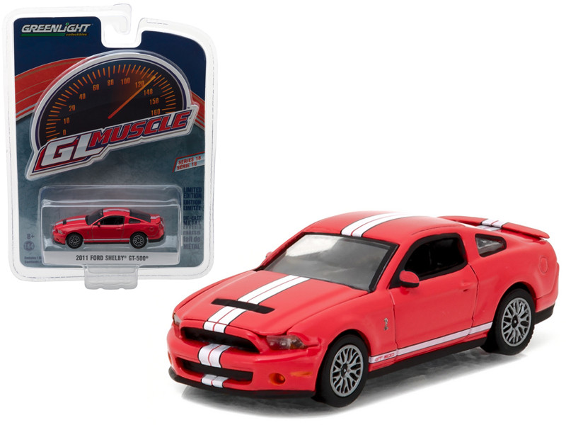 2011 Ford Shelby Mustang GT-500 Race Red with SVT Performance Package 1/64 Diecast Model Car Greenlight 13180 D
