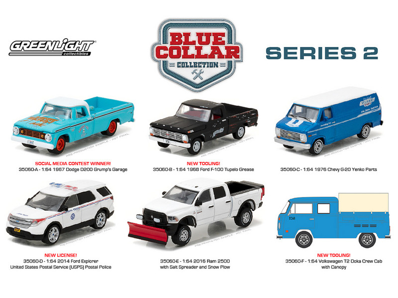 Blue Collar Collection Series 2 6pc Diecast Car Set 1/64 Diecast Model Cars Greenlight 35060