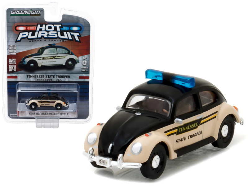 Classic Volkswagen Beetle Tennessee State Trooper 1/64 Diecast Model Car by Greenlight