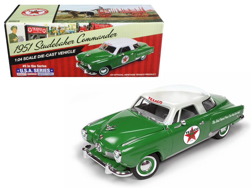 "1951 Studebaker Commander Starlight Coupe \Texaco"" 5th in the USA Series 2017 1/24 Diecast Model Car by Autoworld"""""""