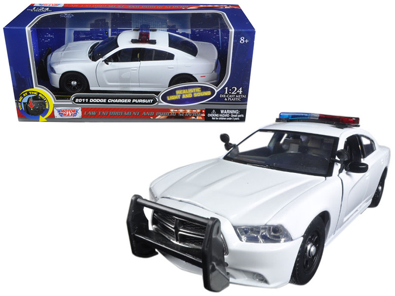 2011 Dodge Charger Pursuit Police Car White with Flashing Light Bar Front and Rear Lights and 2 Sounds 1/24 Diecast Model Car Motormax 79532