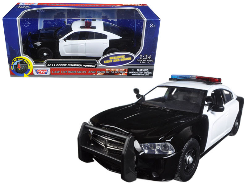 2011 Dodge Charger Pursuit Police Car Black and White with Flashing Light Bar Front and Rear Lights and 2 Sounds 1/24 Diecast Model Car Motormax 79533
