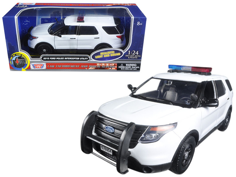 2015 Ford Police Interceptor Utility White with Light Bar and Sound 1/24 Diecast Model Car Motormax 79535