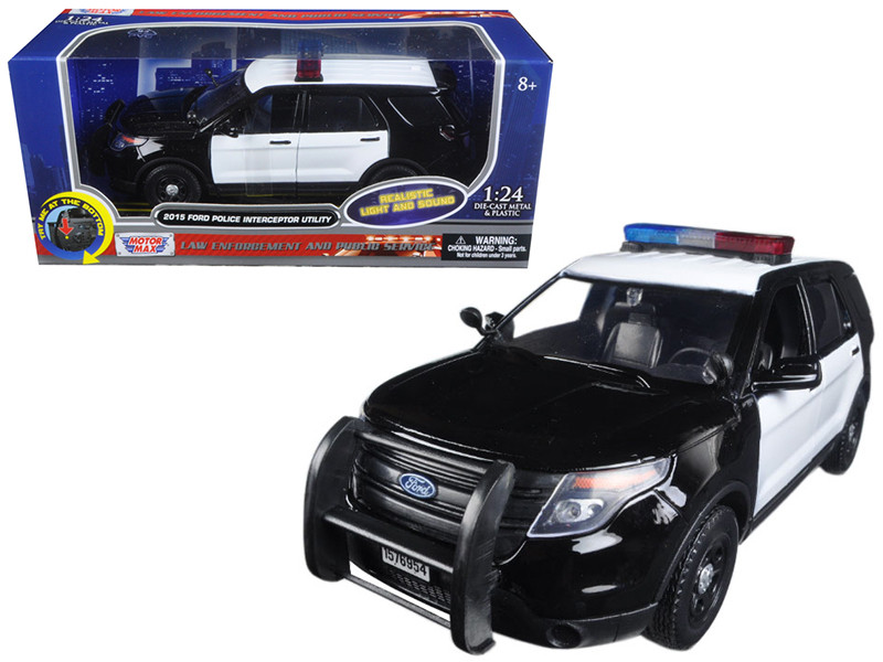 2015 Ford Police Interceptor Utility Black and White with Flashing Light Bar Front and Rear Lights and 2 Sounds 1/24 Diecast Model Car Motormax 79536