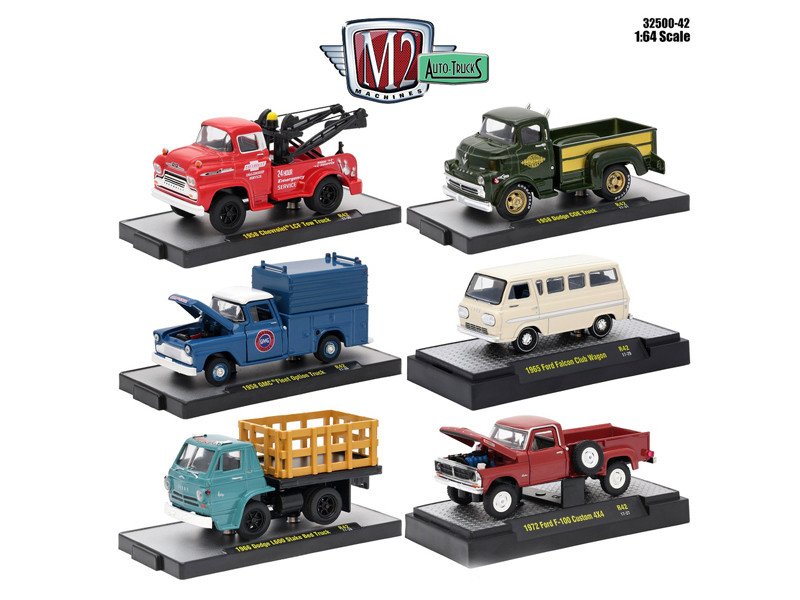 Auto Trucks 6 Piece Set Release 42 IN DISPLAY CASES 1/64 Diecast Model Cars M2 Machines 32500-42