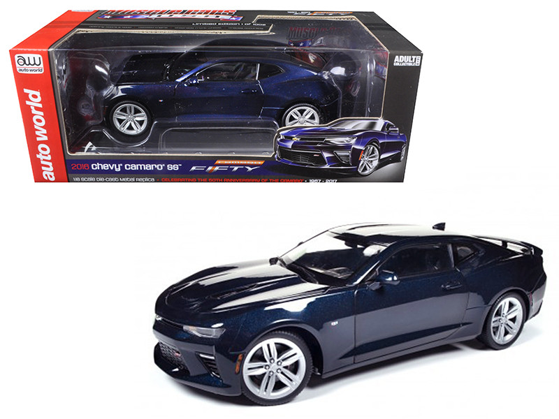 2016 Chevrolet Camaro SS Blue Velvet Metallic Celebrating 50th Anniversary Limited Edition to 1002 pcs 1/18 Diecast Model Car Autoworld AW239