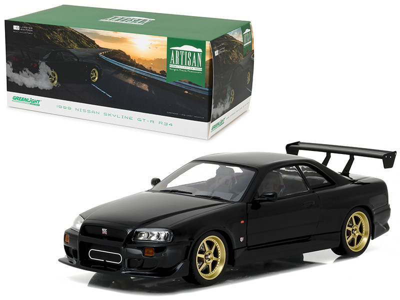 1999 Nissan Skyline GT-R (R34) Black 1/18 Diecast Model Car by Greenlight