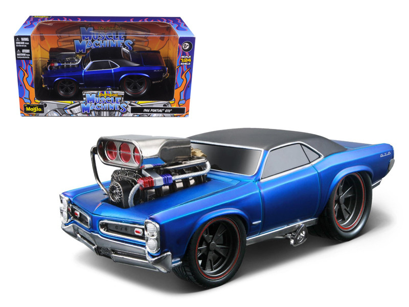 "1966 1967 Pontiac GTO Blue \Muscle Machines\"" 1/24 Diecast Model Car by Maisto"""""""