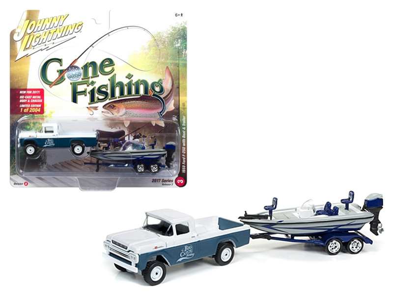 1959 Ford F-250 Pickup Truck Surf Blue Iridescent with Gloss White with Boat and Trailer Gone Fishing 1/64 Diecast Model Car Johnny Lightning JLBT002 A