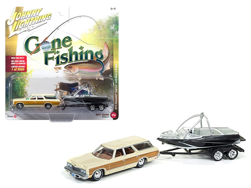 1973 Chevrolet Caprice Cream with Wood Grain with Boat and Trailer Gone Fishing 1/64 Diecast Model Car by Johnny Lightning JLBT002 A