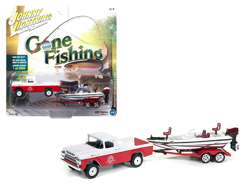 1959 Ford F-250 Pickup Truck Roman Red with Gloss White with Boat and Trailer Gone Fishing 1/64 Diecast Model Car Johnny Lightning JLBT002 B