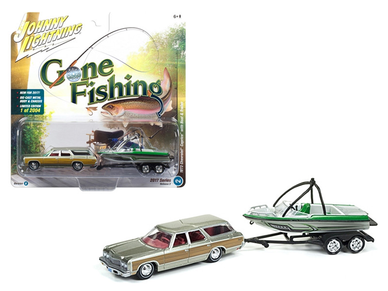 1973 Chevrolet Caprice Silver Poly with Wood Grain with Boat and Trailer Gone Fishing 1/64 Diecast Model Car Johnny Lightning JLBT002 B