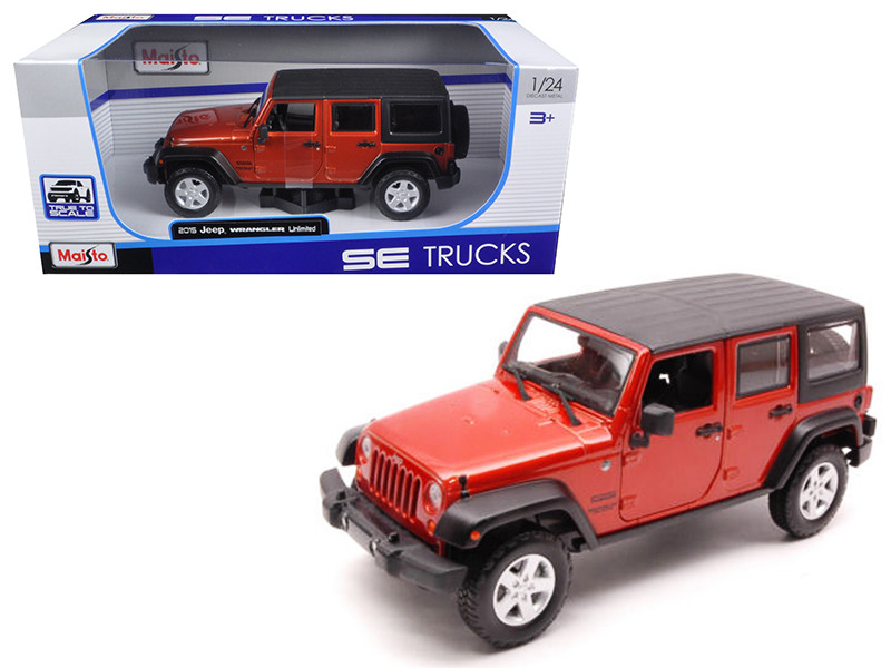 2015 Jeep Wrangler Unlimited Orange 1/24 Diecast Model Car Maisto 31268