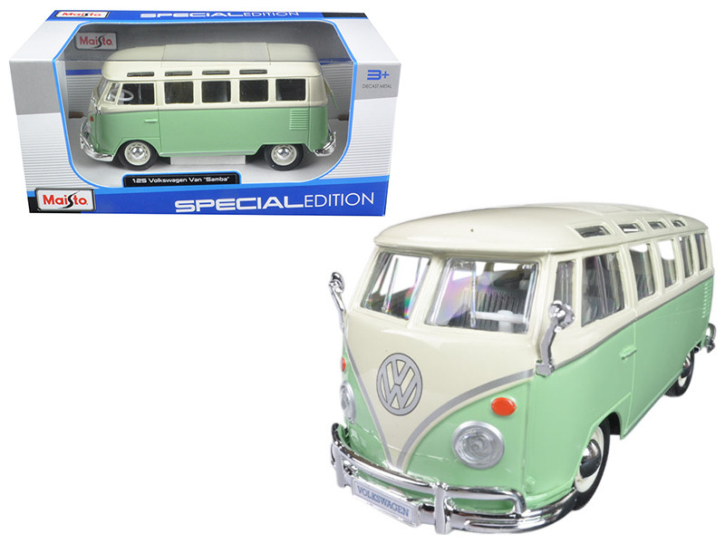 Volkswagen Van Samba Bus Green 1/25 Diecast Model Car Maisto 31956