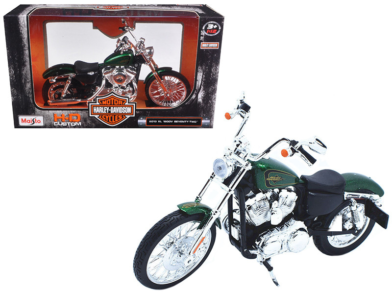 2013 Harley Davidson XL 1200V Seventy Two Green Motorcycle Model 1/12 Maisto 32335
