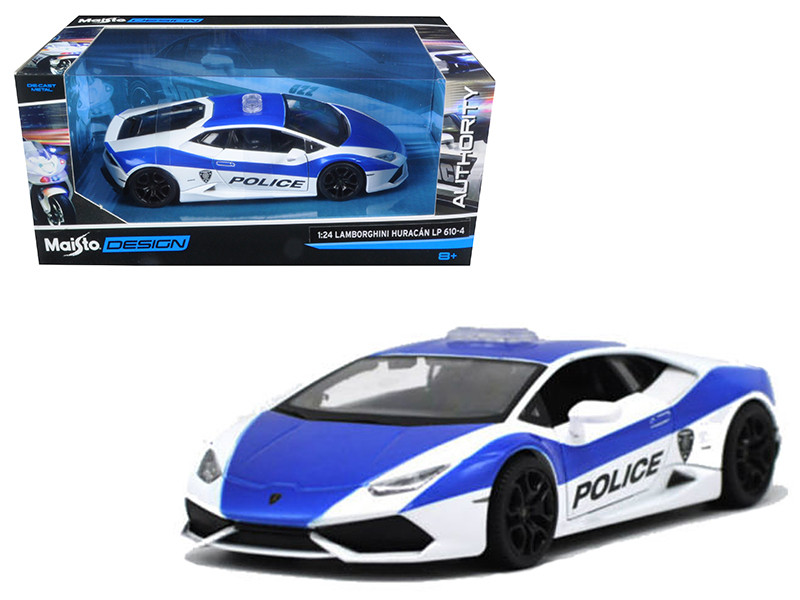 Lamborghini Huracan LP610-4 Police White and Blue 1/24 Diecast Model Car Maisto 32513