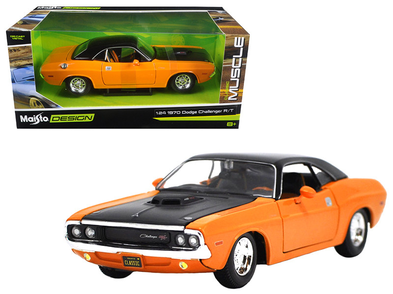 1970 Dodge Challenger R/T Orange Classic Muscle 1/24 Diecast Model Car  Maisto