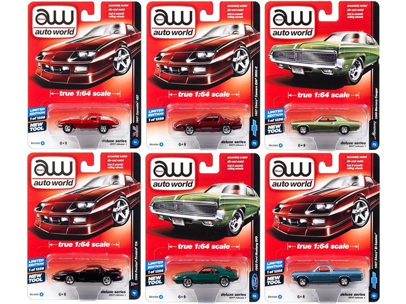Autoworld Deluxe 2017 Release 1A Set Of 6 Cars 1/64 Diecast Model Cars Autoworld 64021 A