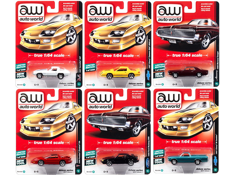 Autoworld Deluxe 2017 Release 1B Set Of 6 Cars 1/64 Diecast Model Cars Autoworld 64021 B