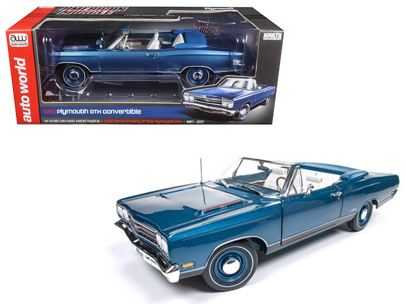 1969 Plymouth GTX Convertible Jamaican Blue Poly Limited Edition to 1002pcs 1/18 Diecast Model Car Autoworld AMM1102