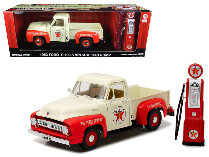 1953 Ford F-100 Pickup Truck Texaco with Vintage Texaco Gas Pump 1/18 Diecast Model Car Greenlight 12991