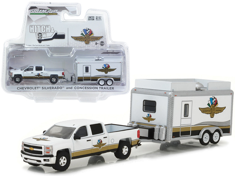 Chevrolet Silverado and Indianapolis Motor Speedway IMS Gift Shop Trailer Hitch Tow 1/64 Diecast Model Cars Greenlight 29906