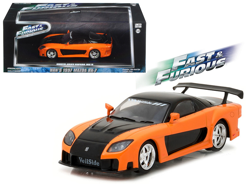 Han\'s 1997 Mazda RX-7 Fast and Furious: Tokyo Drift Movie (2006) 1/43 Diecast Model Car by Greenlight