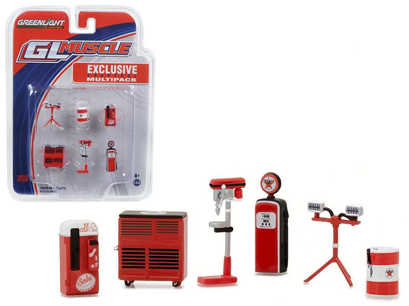 Greenlight Muscle 6pc Set Shop Tools Texaco 1/64 Greenlight 13154