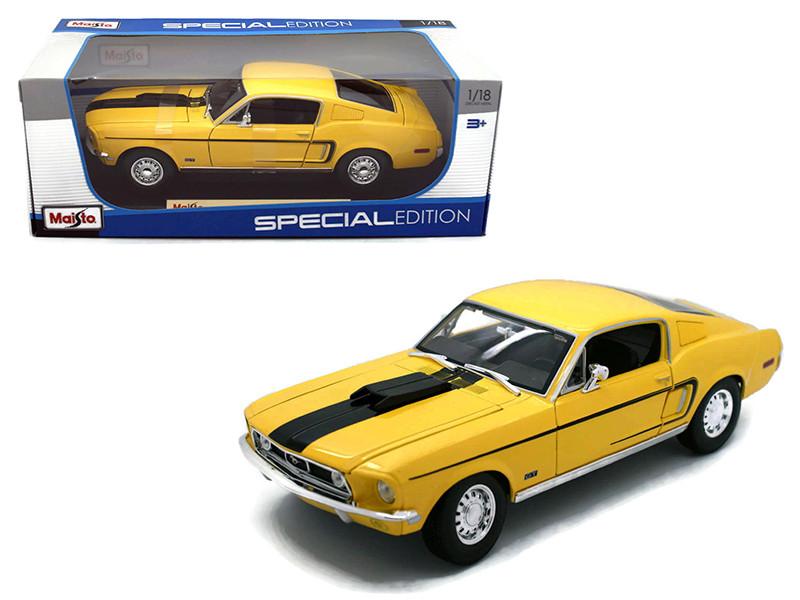 1968 Ford Mustang CJ Cobra Jet Yellow 1/18 Diecast Model Car Maisto 31167