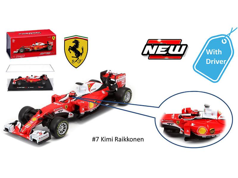 2016 Ferrari Racing Formula 1 SF16-H F1 Kimi Raikkonen #7 with Figure 1/43 Diecast Model Car Bburago 36804 KR