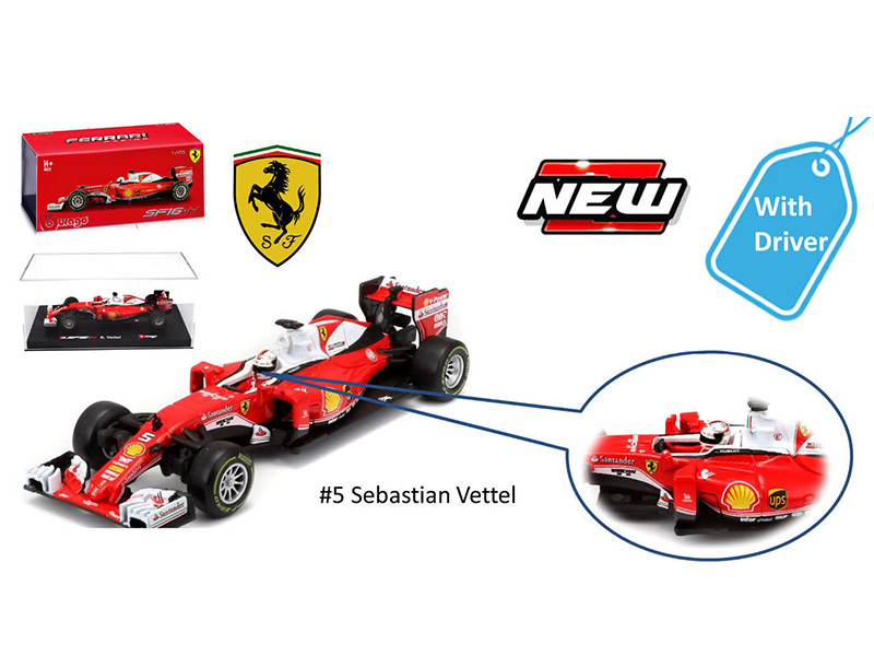 2016 Ferrari Racing Formula 1 SF16-H F1 Sebastian Vettel #5 with figure 1/43 Diecast Model Car Bburago 36804 SV