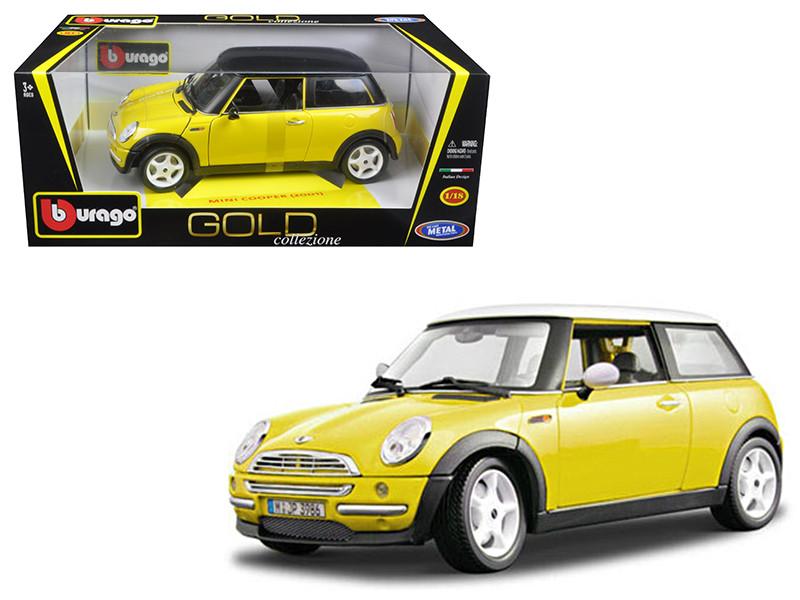 2001 Mini Cooper Yellow 1/18 Diecast Model Car by Bburago