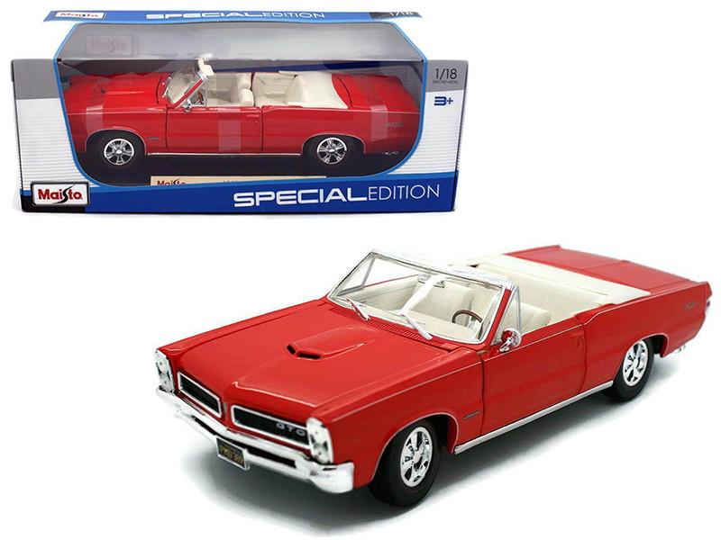 1965 Pontiac GTO Convertible Red 1/18 Diecast Model Car by Maisto