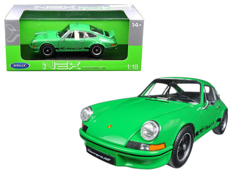 1973 Porsche 911 Carrera RS Green with Black Stripes 1/18 Diecast Model Car by Welly