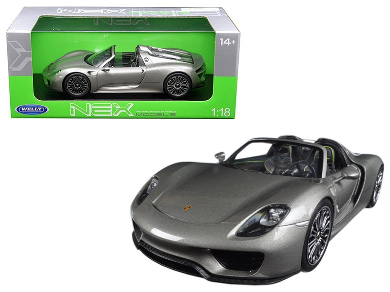 Porsche 918 Spyder No Top Silver 1/18 Diecast Model Car by Welly
