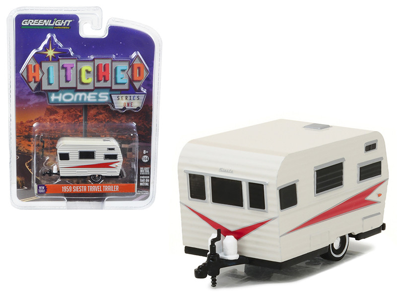 1959 Siesta Travel Trailer Silver and Red 1/64 Diecast Model Greenlight 34010 B