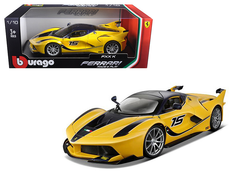 Ferrari FXX-K #15 Yellow 1/18 Diecast Model Car Bburago 16010