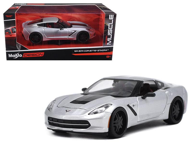 2014 Chevrolet Corvette C7 Stingray Silver Modern Muscle 1/24 Diecast Model Car Maisto 32510