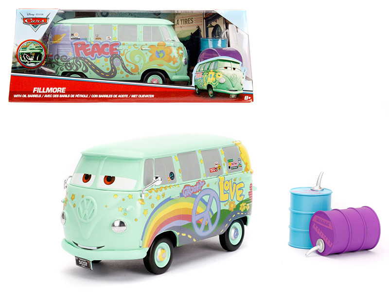 Disney Pixar Cars Movie Fillmore with Oil Cans Diecast Model Car Jada 98492