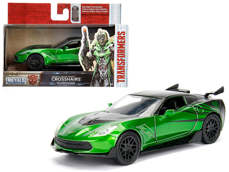 2016 Chevrolet Corvette Crosshairs Green From Transformers 5 Movie 1/32 Diecast Model Car Jada 98397