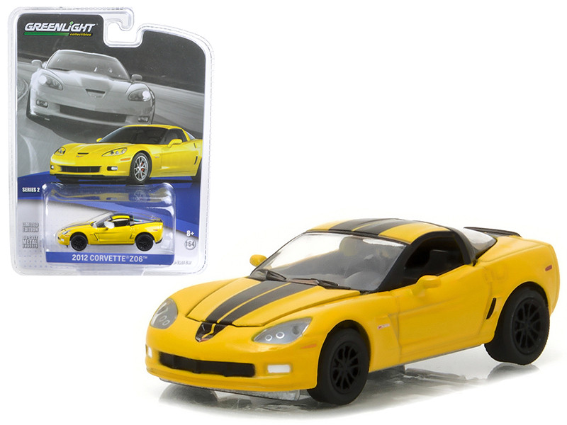 2012 Chevrolet Corvette Z06 Velocity Yellow 1/64 Diecast Model Car Greenlight 27875 A